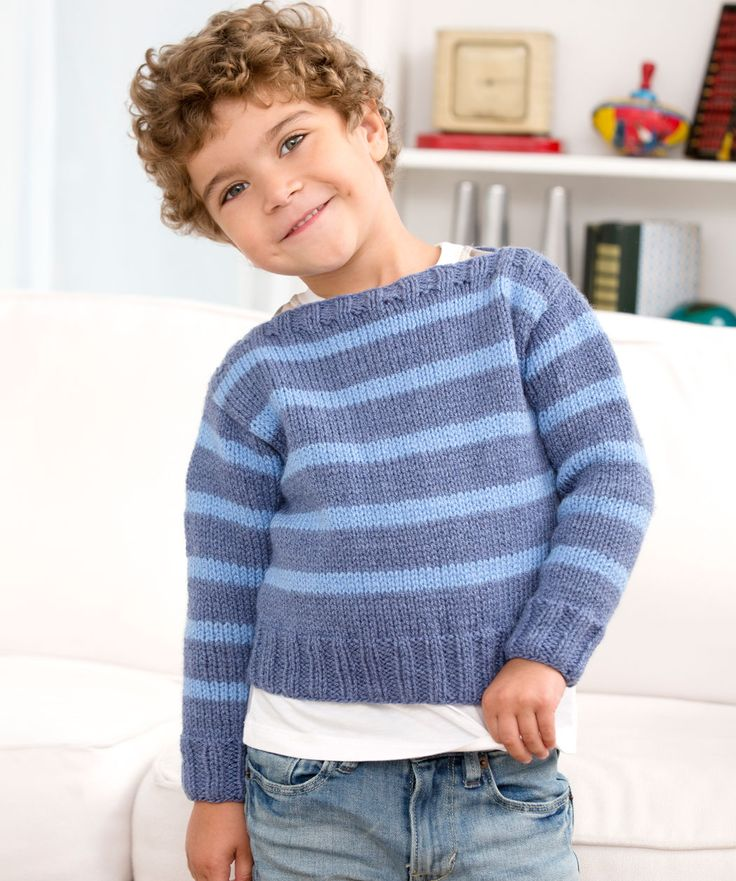 A comfy striped knit pullover is the perfect fit for an active boy! The boat neck makes it easy to get on and off.