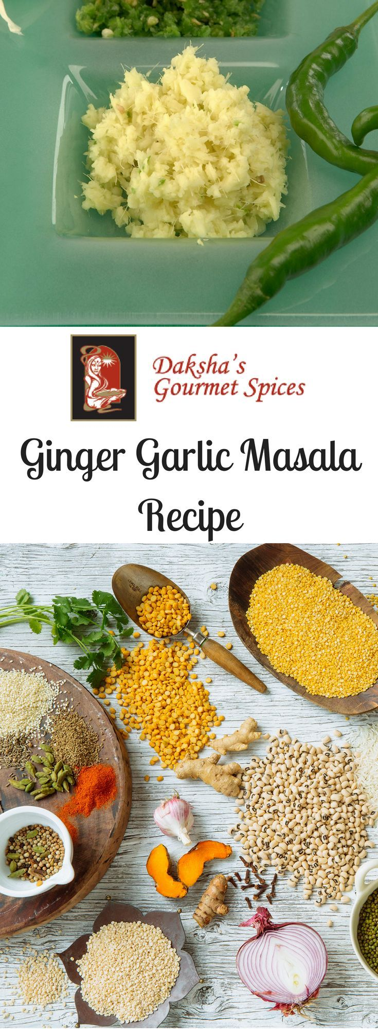 Daksha's Ginger Garlic Masala Recipe! Deliciously fresh with garlic cloves, ginger, green chilies and coarse salt. Visit to link to see the recipe!