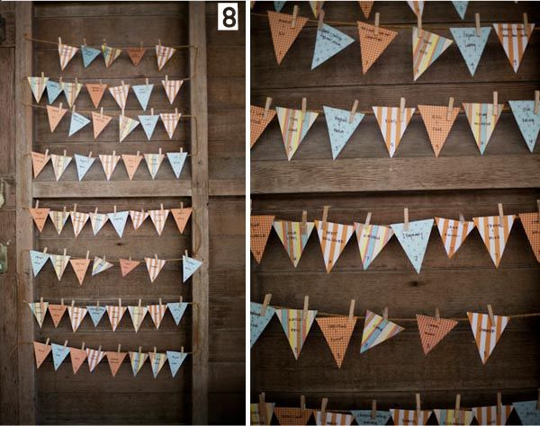 In keeping with the 'Bunting' theme! Guests find their names on these little paper bunting triangles and on the back is their table number.