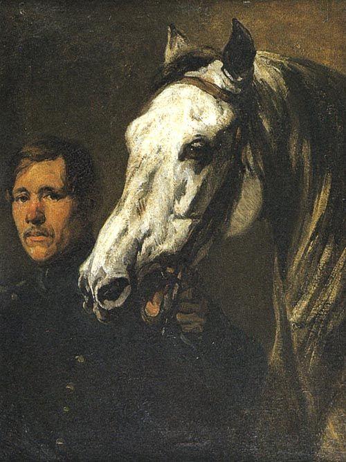 """Michałowski - """"Stajenny trzymający konia za uzdę"""", ok. 1846, olej na płótnie, 94 x 72,5 cm, Muzeum Narodowe, Kraków"""