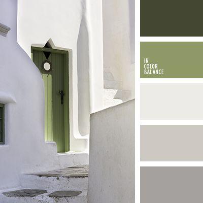 caqui oscuro, casi blanco, color blanco grisáceo, color caqui, color gris claro, color gris hormigón, color pantano, color piedra, gris, gris oscuro, oliva, tonos grises, tonos verdes, verde, verde oscuro.