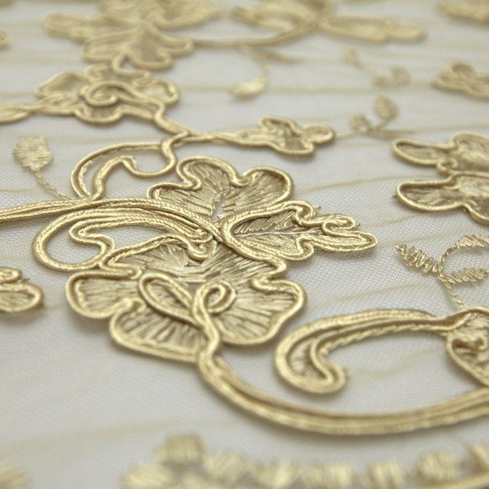 Tecido tule bordado soutache dourado areia quente - Maximus Tecidos | Loja…
