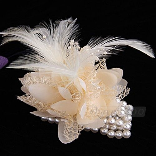 Cream Wedding Feather Faux Pearl Rhinestone Wrist Flower Corsage Bracelet | eBay