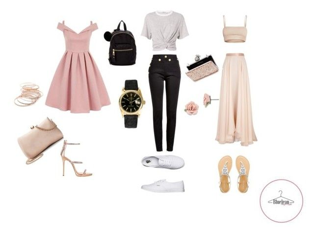 """""""Rectangulo"""" by maria-belen-aguirre on Polyvore featuring moda, Chi Chi, Balmain, T By Alexander Wang, Lanvin, Red Camel, Rolex, 1928, Vans y Giuseppe Zanotti"""
