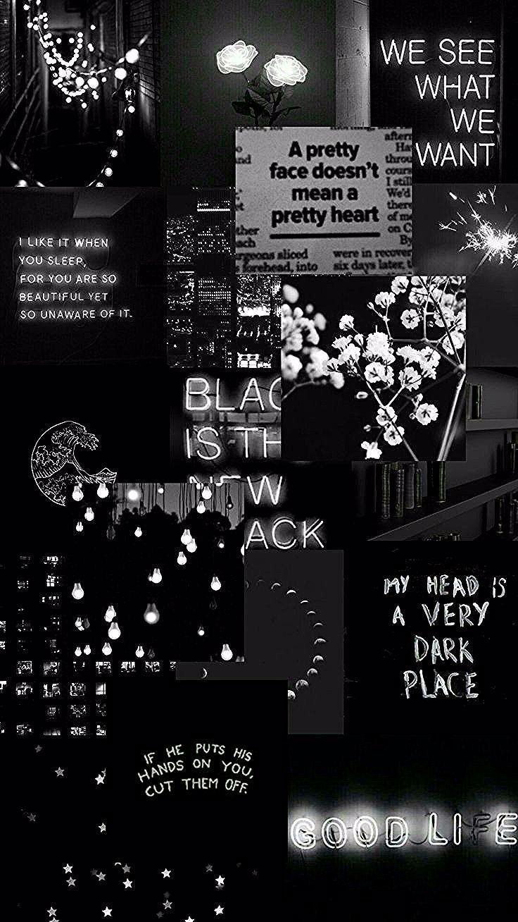 Black Aesthetic Collage Wallpaper Hitam Lucu Wallpaper Estetika Lock Screen Wallpaper