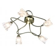 Dar Lighting Cicero 5 Light Ceiling Fitting in an Antique Brass Finish
