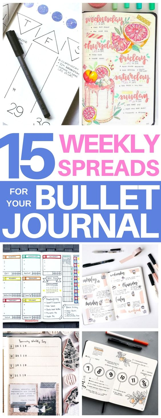 Exactly what I needed! Awesome list of bullet journal weekly spreads that have minimalist, girly, simple, and artistic backgrounds. Gave me tons of ideas of bujo headers and layouts. Definitely pinning this to my bullet journal ideas board!