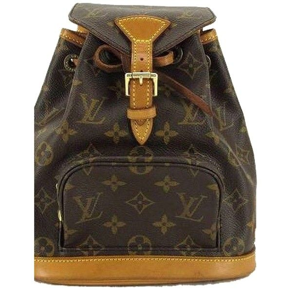 Pre-owned Louis Vuitton Monogram Montsouris Bookbag Backpack ($390) ❤ liked on Polyvore featuring bags, backpacks, brown, rucksack bag, brown bag, louis vuitton bags, louis vuitton backpack and monogrammed bags