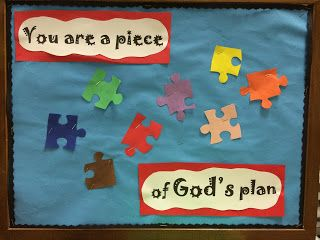 "THIS. Could maybe get a piece of paper which says ""You are a piece of God's plan"" then cut it into jigsaws for the children to put back together."