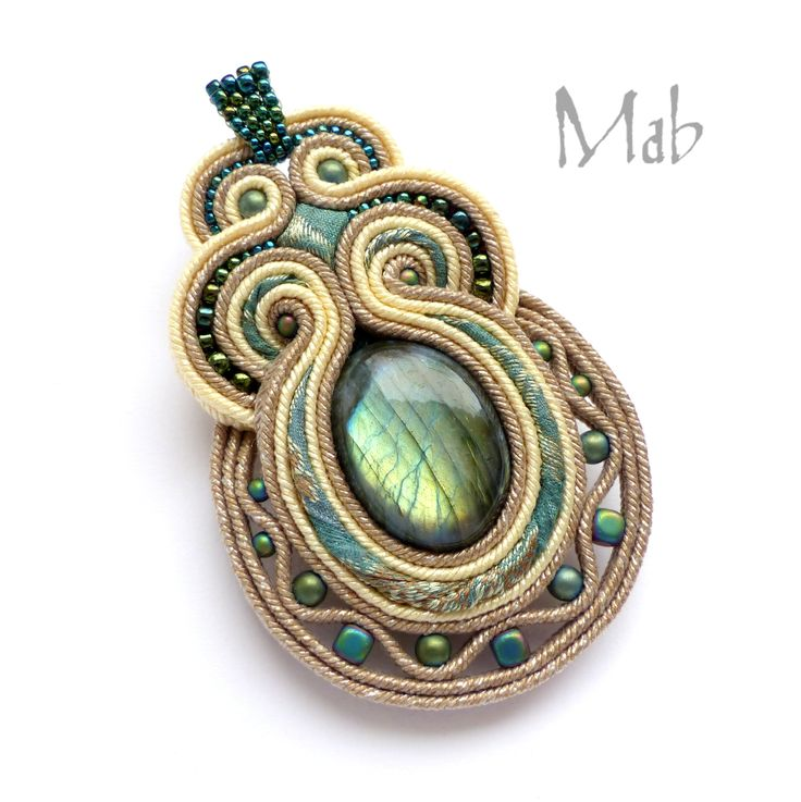 Mab Magdalena Bielska - soutache pendant with labradorite and silk