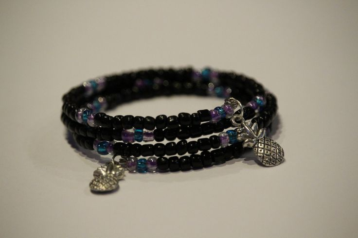 black purple and blue pineapple bracelet by 1OfakindHomemade on Etsy