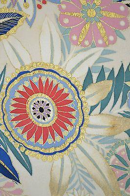 VINTAGE SILK KIMONO FABRIC:Handpaint Exotic Chrysanthemum@D50