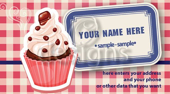 Buy Digital Business Calling Card Cupcake Template No 9 by odesigns. Explore more products on http://odesigns.etsy.com