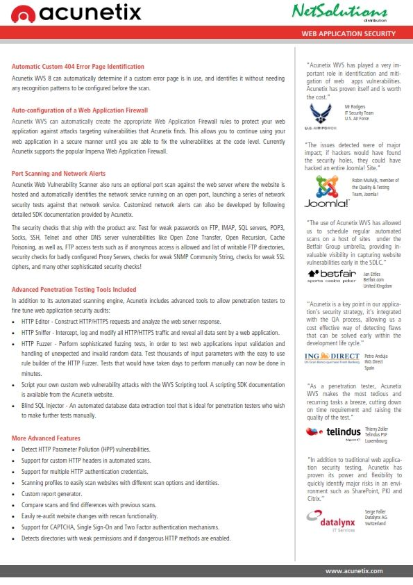 PT. #Netsolutions Infonet #acunetix Auto-configuration of a Web Application Firewall