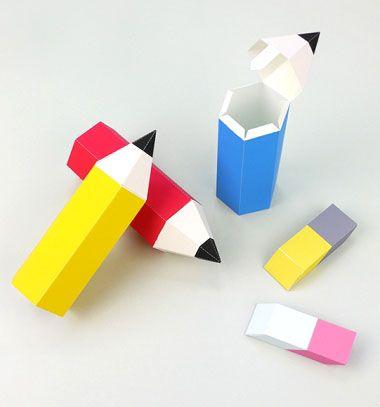 Pencil gift boxes - back to school (free printable) // Ceruza alakú ajándékdobozok (ingyenesen nyomtatható) // Mindy - craft tutorial collection // #crafts #DIY #craftTutorial #tutorial #PartiesForKIds #DIYPartyFavorsForKIds #DIYPartyDecorsForKIds