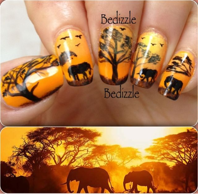 94 best african inspired nails images on pinterest africans nail arts by bedizzle african safari prinsesfo Images