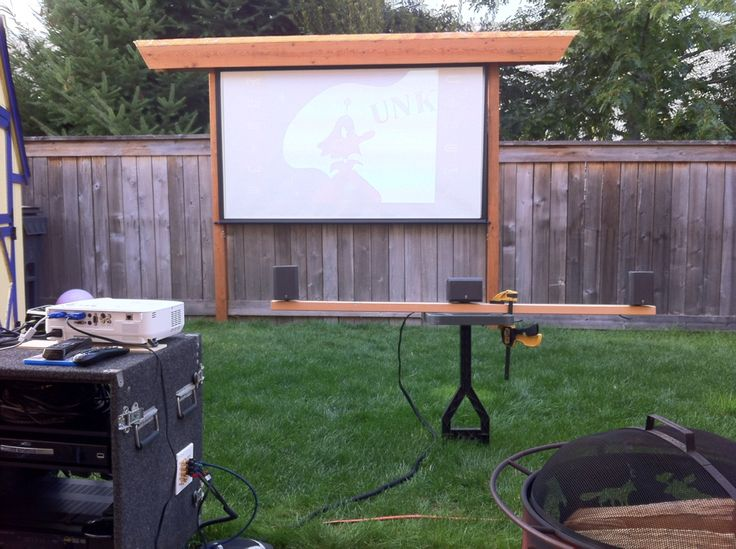 Backyard Theater Ideas : make it to look like a pergola? can the screen retract or does it have