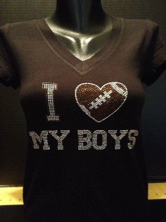 I Love My Boys  Football Mom Bling Shirt by flashyexpressions, $19.99