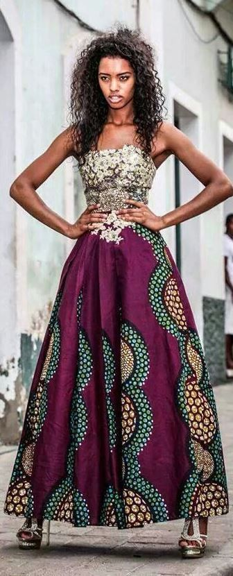 jaglady African print bottom with a gold to bodice for braids maids. same pattern and different lengths and styles
