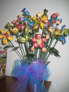 the candy bouquet .