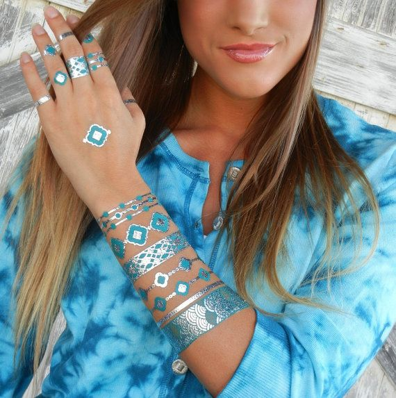 Metallic Tattoos Metallic Tattoo Silver Tattoo par ShimmerTatts