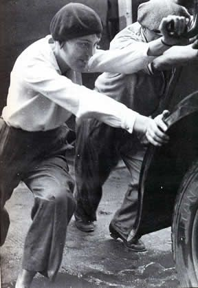 """Poses calculated or urgent seized by the photographer ? """"the garçonne with the car"""". Women in Trousers"""
