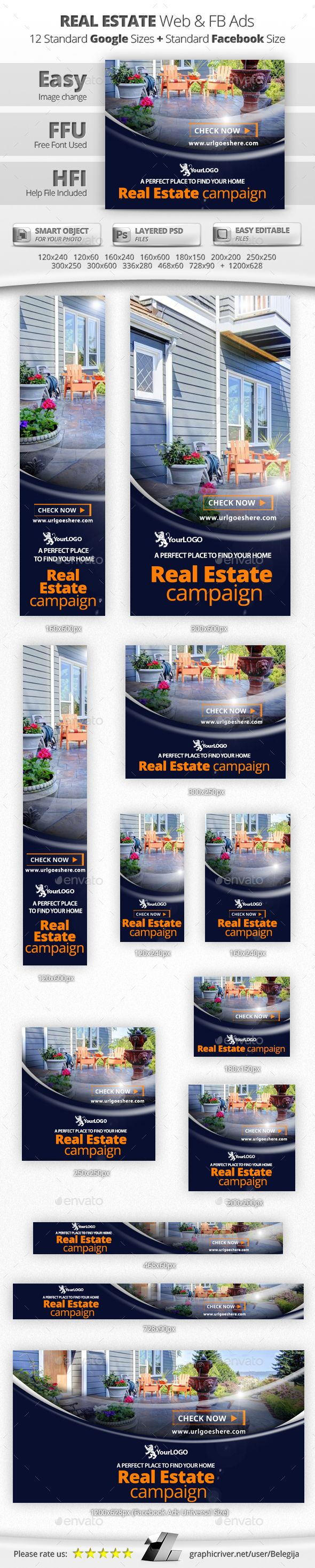 Real Estate Web & Facebook Banners — Photoshop PSD #advertising #real estate • Available here → https://graphicriver.net/item/real-estate-web-facebook-banners/14075635?ref=pxcr