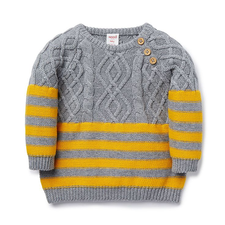 100% Cotton Sweater. Cable knit sweater, featuring contrast block stripe. REgular fitting silhouette with button closure on baby's left shoulder for easy dressing. Available in Patchy Marle.