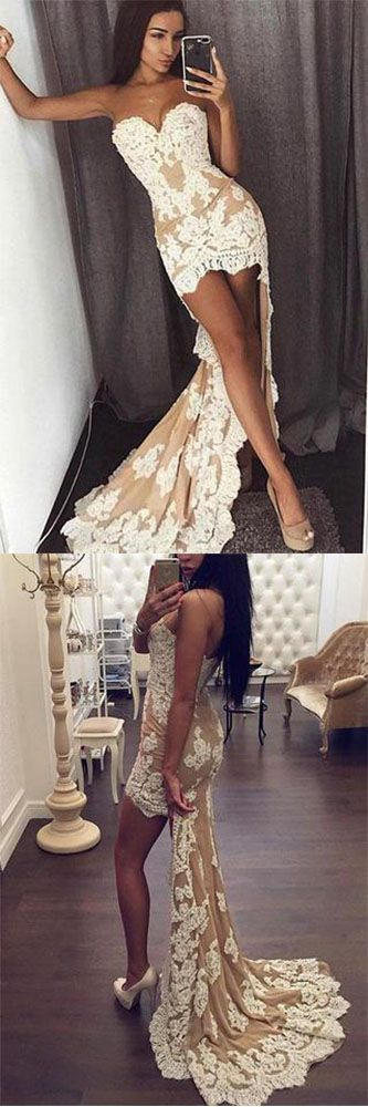 High Low Strapless Evening Dress Sexy Lace Sweetheart Sleeveless Mermaid Prom Dresses uk,#highlow,#mermaid,#lace,#elegant,#champagne,#strapless,#shortpromdress