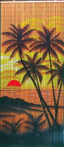"Tropical Sunset Palm Trees Beaded Curtain 125 Strands (+hanging hardware) by ABeadedCurtain. $55.19. Truly a piece of hand painted artwork. Fits most doorways and windows. Also looks wonderful when hung on walls as beaded wall art.. Currently the highest quality bamboo beaded curtain being manufactured.. Each bamboo curtain is 36"" x 79"" with 125 strands attached to a wooden hanging bar. Curtain contains approx. 4000 individually hand painted bamboo beads.. Bamboo beaded cu..."