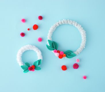 Mini Wreaths with pipe cleaners and fuzz balls :)