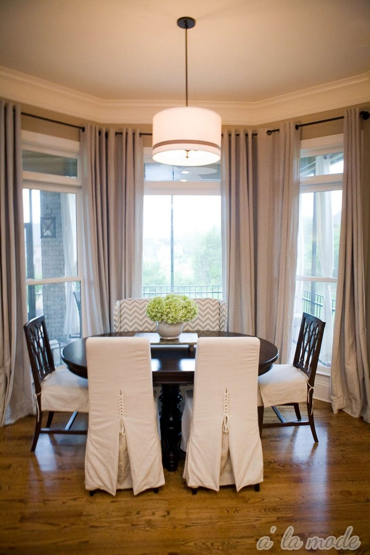 Drooling Over The Drum Shade And Chevron Fabric Covered Bench Dining Room CurtainsDining WindowsDining