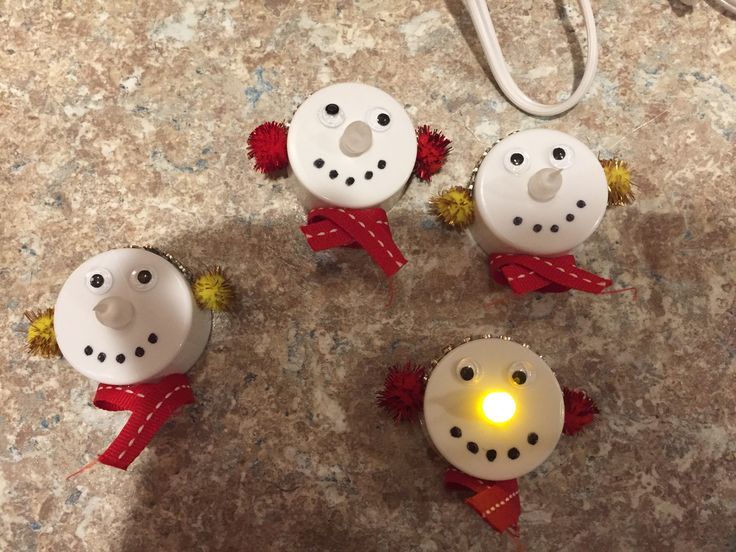 Cute Battery Operated Tea Light Snowman Ornaments Tea