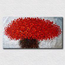 Koyu kırmızı çiçek yağlıboya kalın yağlıboya tuval güzel yatak odası ev dekorasyon duvar resimleri için tuval sanat(China (Mainland))