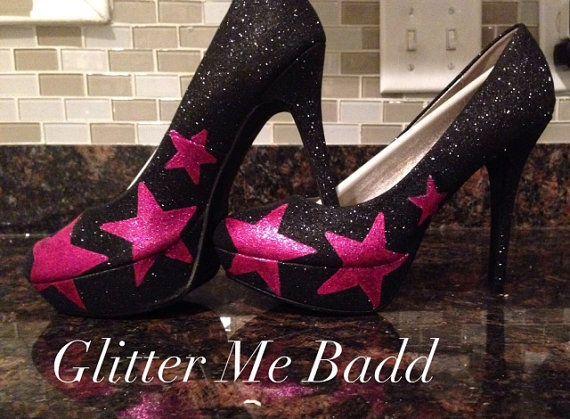 Pink Stars on black glitter heel by GlitterMeBadd on Etsy