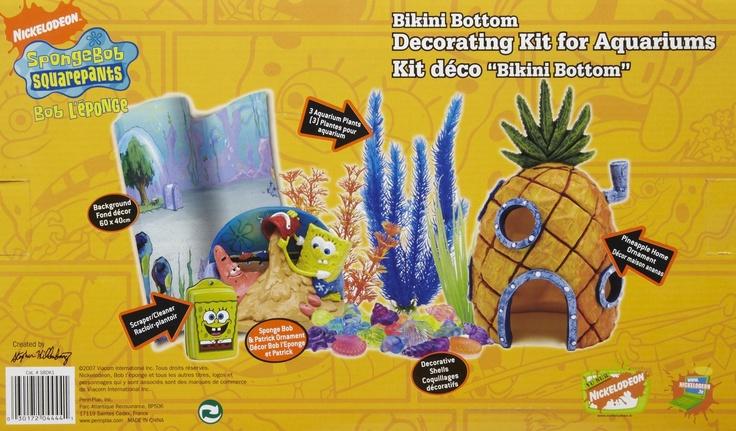 Penn plax spongebob aquarium decorating kit free for Spongebob fish tank accessories