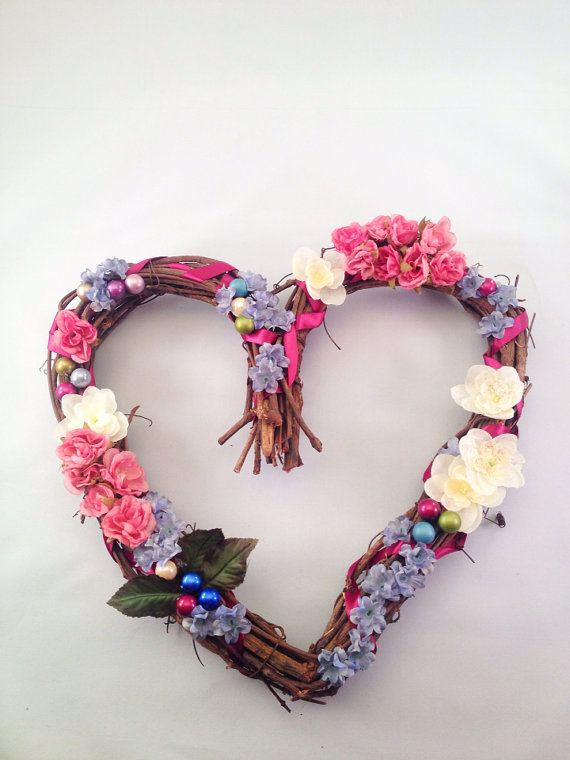 Shabby Chic Custom Floral Wreath by OctoberandJuly on Etsy, $30.00