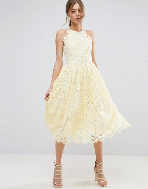 ASOS   ASOS Lace Pinny Scallop Edge Prom Midi Dress
