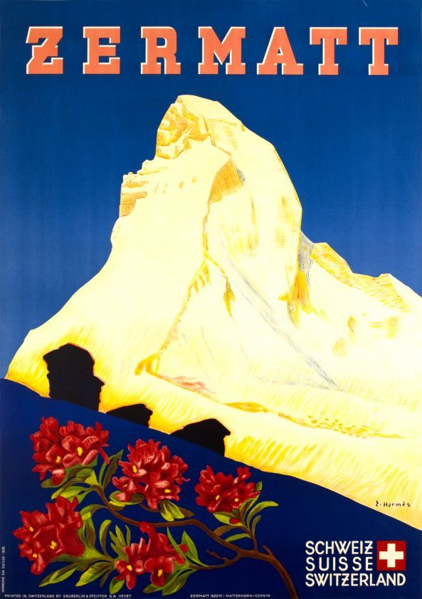 Zermatt, Valais-Suisse Rare travel poster by Eric Hermès to the glory of the Matterhorn (Cervin) over Zermatt.