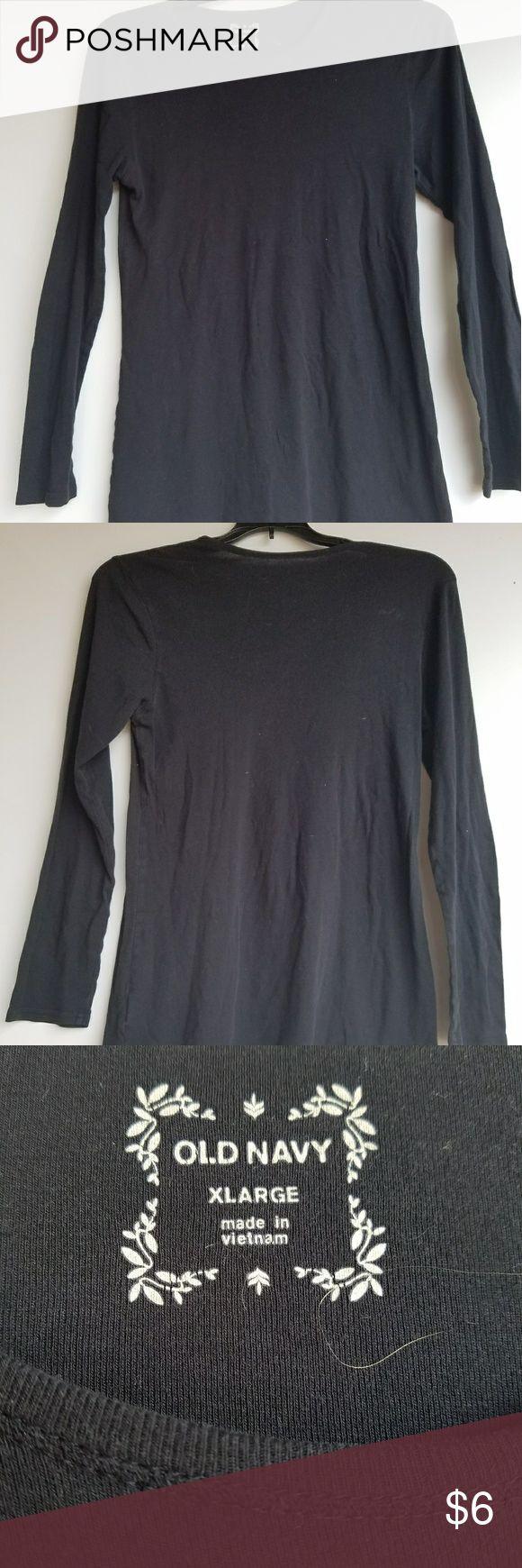 Black t shirt old navy -  Black Long Sleeved Old Navy Shirt