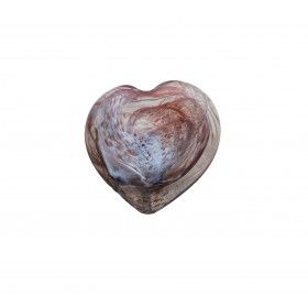 Hand blown glass heart, swirling dusky pink and white. Handmade in the UK by Adam Aaronson. Available from miratis.com
