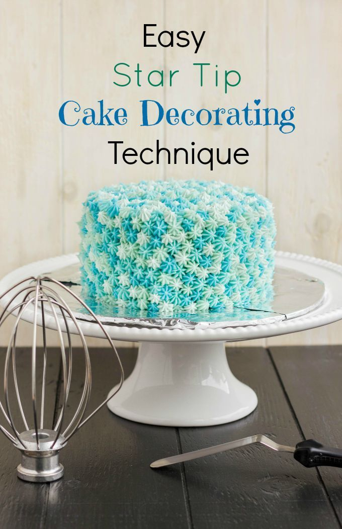Easy Star Tip Cake Decorating Idea. Very easy, but a little bit of work. Four shades of blue, but feel free to use any colour you like! #cakedecorating #cakes #blue