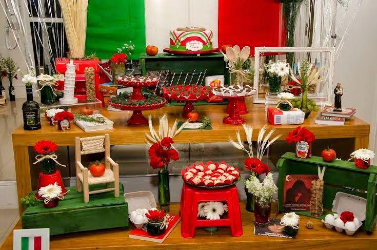 Louca por festas adulto festa italiana anivers rio para for Decoracion italiana