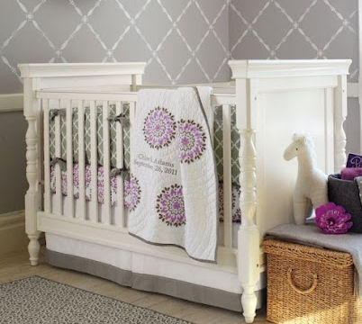 Purple Gray And White Dahlia Baby Bedding Set In A Nursery With Pottery Barn Kids Kendall Crib Nurseries