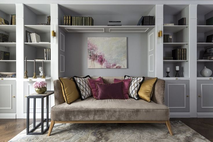 1-gray-pink-beige-French-style-living-room-home-library-interior-design-with-art-deco-elements-shelving-unit-sofa-painting-decorative-pillows