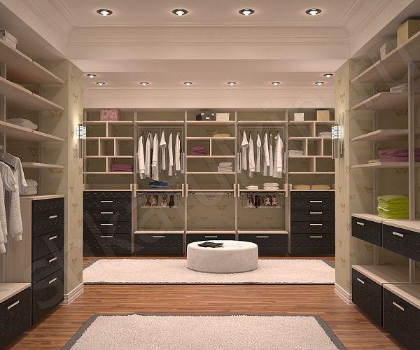 Данная модель гардеробного шкафа отличается большой вместительностью и практичностью. Отличный вариант для обустройства гардеробной комнаты. Есть открытые полочки для одежды и тумбы с закрытыми выдвижными ящиками. Декоративное решение строится на контрасте светлого и темного дерева. Легкий резной орнамент на ящиках придает комнате особую прелесть.