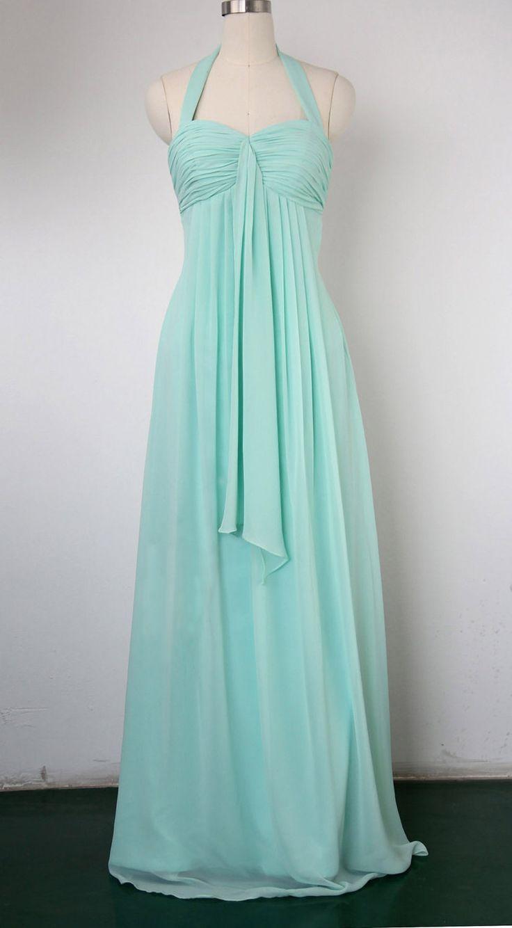 Halter Bridesmaid Dress, Column Halter Floor-length Chiffon Prom Dress 2013. $109.00, via Etsy.
