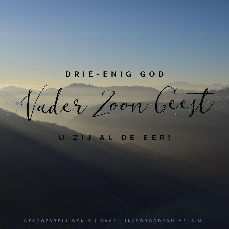 Drie-enig God, U zij al de eer!  #DeVader, #Geest, #Jezus  https://www.dagelijksebroodkruimels.nl/geloofsbelijdenis-vader-zoon-geest/