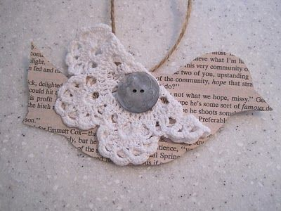 Paper Book & Doily Bird Ornament by Jenni at {Beautiful Nest} {Ornament No. 12 1/2} - bystephanielynn