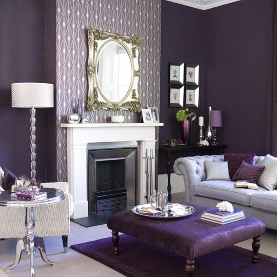 stunningDecor, Wall Colors, Purple Room, Living Rooms, Shades Of Purple, Living Room Design, Livingroom, Colors Schemes, Purple Bedrooms